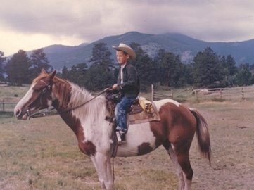 You can ride the battlefield with French, shown here in his younger days riding the range in northern Colorado