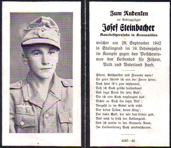 remembrance card of soldier who died at stalingrad the fifth field