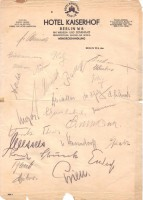 Autographed stationery from the Hotel Kaiserhof of U-47 Crew